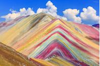 <p>The various peaks of the Ausangate Mountain region exhibit an array of shades—from lavender to pastel green—due to the different types of sediment and its reaction to the atmosphere. However, no other mountain in the region displays seven different colors in a uniform fashion like Vinicunca. The technicolor mount is found deep within the mountain range and takes nearly six days of hiking to reach the peak. There is now a road leading to the mountain, which makes seeing the rainbow much easier for less-experienced hikers.</p>