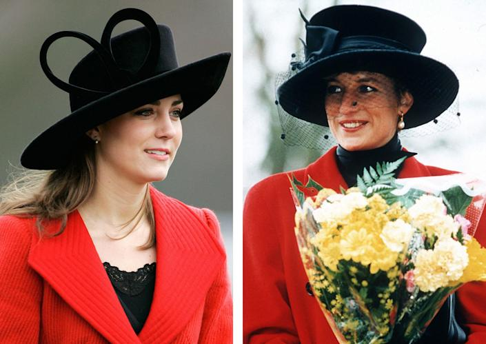 <p>As the wife of the future King of England, The Duchess of Cambridge is bound to draw comparisons to her husband's late mother, Diana, Princess of Wales. Here, a look back at the times Kate Middleton paid sartorial tribute to her late mother-in-law.</p>