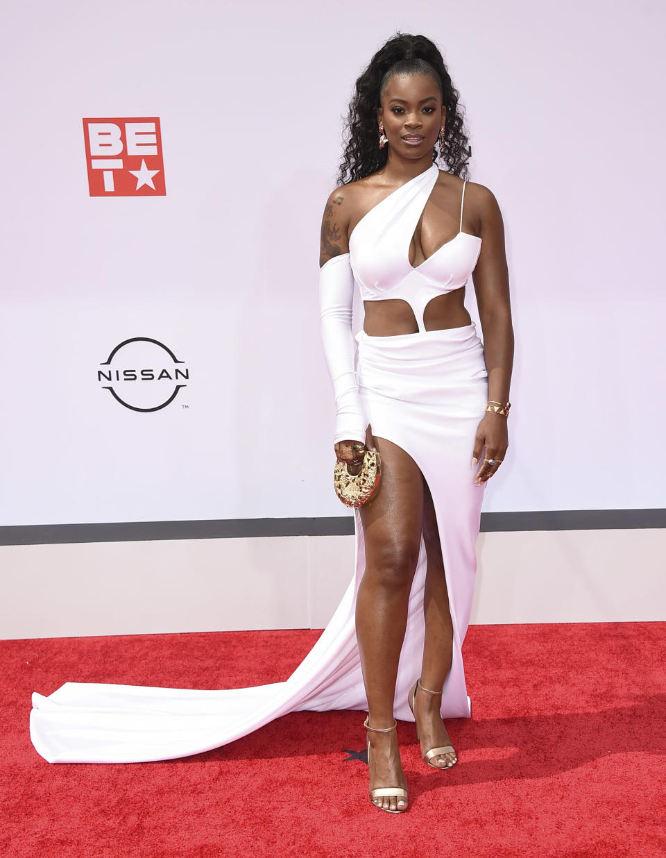 Ari Lennox arrives at the BET Awards on Sunday, June 27, 2021, at the Microsoft Theater in Los Angeles. (Photo by Jordan Strauss/Invision/AP)