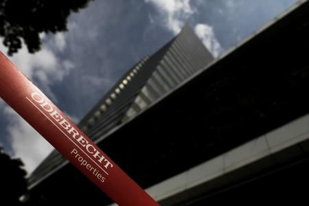 FILE PHOTO: Corporate logo of the Odebrecht SA construction conglomerate is pictured at its headquarters in Sao Paulo
