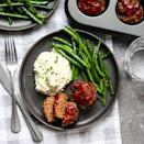 <p>Comfort food but make it fast! This recipe incorporates a number of pantry ingredients and shortcuts like frozen cauliflower and steam-in-the-bag green beans to cut way down on prep time. Baking the meatloaf in a muffin tin reduces cook time by more than half and makes portion control easy.</p>