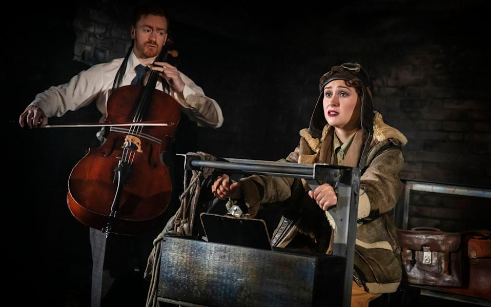 Hannah Edwards and Benedict Salter in Lone Flyer, at the Watermill Theatre - Pamela Raith