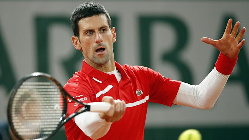 Pictured here, Novak Djokovic in action during the French Open final.