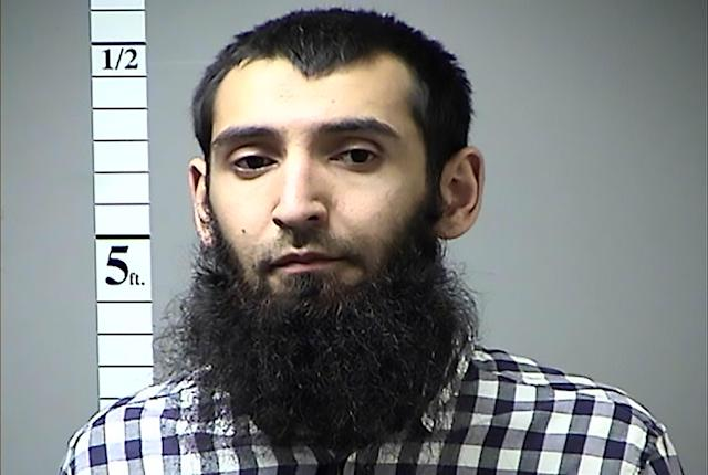 "<p>This handout photograph obtained courtesy of the St. Charles County Dept. of Corrections in Missouri on Oct. 31, 2017 shows Sayfullah Habibullahevic Saipov, the suspected driver who killed eight people in New York on Oct. 31, 2017, mowing down cyclists and pedestrians, before striking a school bus in what officials branded a ""cowardly act of terror."" (Photo: St. Charles County Dept. of Corrections/AFP/Getty Images) </p>"