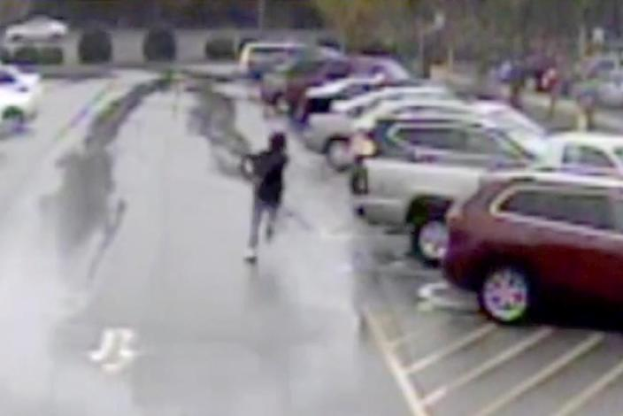Ariane McCree, raced out of the Walmart in Chester, S.C., after he was placed in handcuffs for allegedly stealing a $45 lock in November 2019, police said. (obtained by NBC News via South Carolina State Law Enforcement Division)