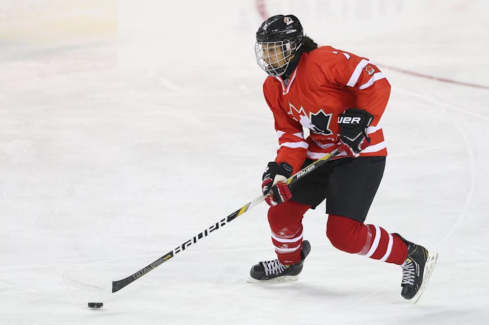 NWHL player Saroya Tinker, pictured here during the 2016 IIHF U18 Women's World Championships, is standing up to a media outlet that has an unsettling history of racism and sexism. (Photo by Vaughn Ridley/Getty Images)
