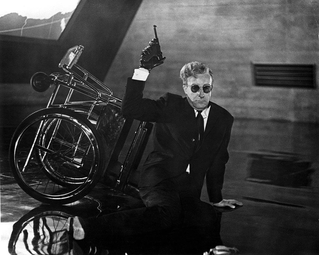 "<a href=""http://movies.yahoo.com/movie/dr-strangelove/"">DR. STRANGELOVE </a>(1964) <br>Directed by: Stanley Kubrick <br>Starring: Peter Sellers and George C. Scott<br>"