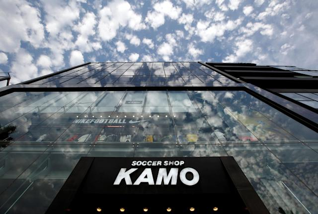 The exterior of soccer shop KAMO is pictured in Tokyo, Japan May 17, 2018. REUTERS/Kim Kyung-Hoon