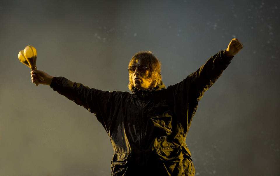 NEWPORT, ISLE OF WIGHT - SEPTEMBER 17: Liam Gallagher performs on stage at Isle Of Wight Festival 2021 at Seaclose Park on September 17, 2021 in Newport, Isle of Wight. (Photo by Mark Holloway/Redferns)