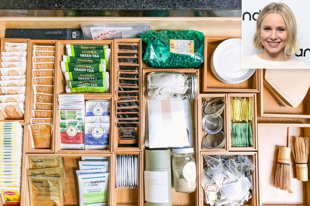 """<p><strong>Divide and Conquer Kitchen Drawers</strong></p><p>Kristen Bell is a tea lover, so Jen Robin of <a href=""""https://www.lifeinjeneral.com/"""">Life in Jeneral</a> used divider inserts to keep her stash neat. If you have an overcrowded drawer, think about which items are important to you — lip balm, stamps, measuring tape? — and then fill each compartment accordingly.</p><p>""""We always say, don't be afraid to play around with it, it's like one big puzzle,"""" Robin says. """"It's okay if you don't get it right the first time, there are so many moving parts.""""</p>"""
