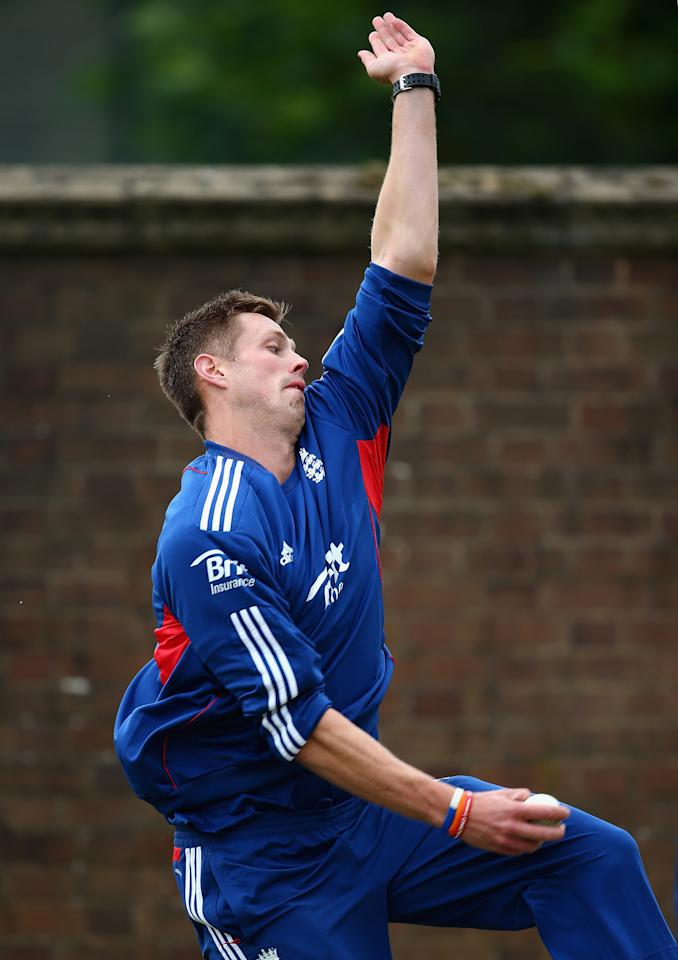 BIRMINGHAM, ENGLAND - SEPTEMBER 10:  Boyd Rankin of England bowls during a net session ahead of the third NatWest One Day International Series match between England and Australia at Edgbaston on September 10, 2013 in Birmingham, England.  (Photo by Clive Mason/Getty Images)