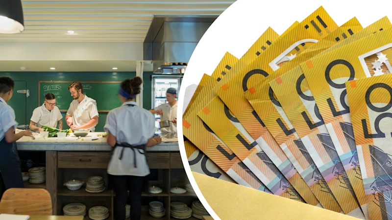 Pictured: Australian restaurant workers and stolen superannuation payments. Images: Getty
