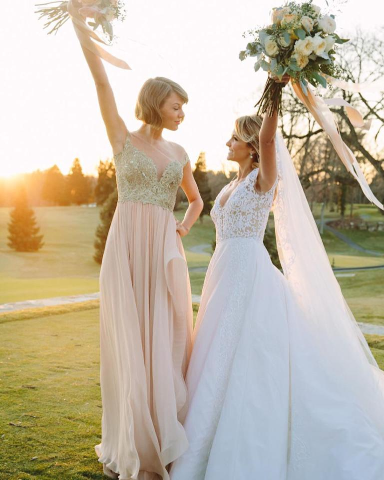 "<p>Dressed in a stunning blush Reem Acra gown, Taylor Swift made a beautiful <a rel=""nofollow"" href=""https://www.instagram.com/p/zIzlhujvDN/"">maid of honor</a> at her childhood bestie Britany Maack's Pennsylvania wedding on February 20, 2016. The pop star shared a sweet message <a rel=""nofollow"" href=""https://www.instagram.com/p/BCCbRs-jvPM/"">Instagram</a> that read: ""I met her when I was 10 days old, and him in kindergarten. Now they're married and I'm the happiest maid of honor ever. Congratulations <a rel=""nofollow"" href=""https://www.instagram.com/britmaack/"">@britmaack</a> and Ben!"" (Side note: Check out Tay's firm grasp on that bouquet there. *Hint hint, nudge nudge.* Your move, Calvin Harris.)</p>"