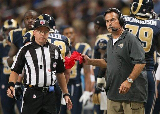 St. Louis Rams head coach Jeff Fisher challenges a ruling that running back Steven Jackson fumbled at the one-yard line during second quarter action against the Washington Redskins in an NFL football game  on Sunday, Sept. 16, 2012 at the Edward Jones Dome in St. Louis. (AP Photo/St. Louis Post-Dispatch, Chris Lee)  EDWARDSVILLE INTELLIGENCER OUT; THE ALTON TELEGRAPH OUT