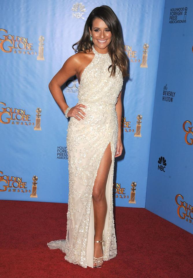 Lea Michele poses at the 70th Annual Golden Globe Awards at The Beverly Hilton Hotel on January 13, 2013 in Beverly Hills, California.