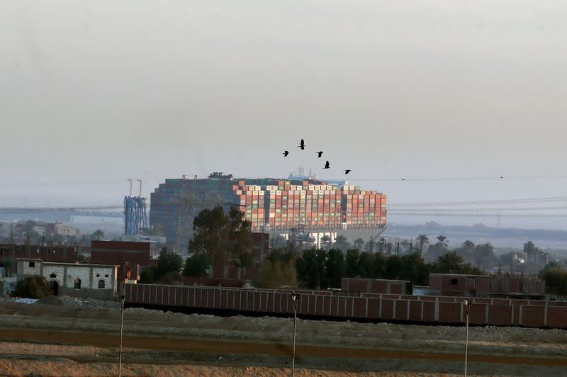 FILE PHOTO: Stranded container ship Ever Given, one of the world's largest container ships, is seen after it ran aground, in Suez Canal