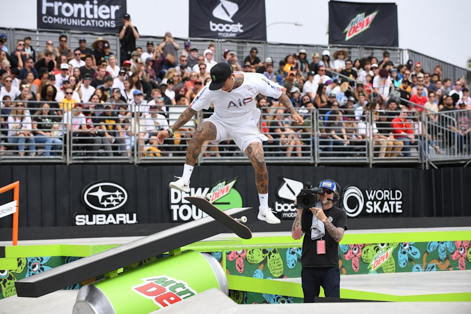 Nyjah Huston of the United States competes during the men's street finals of the Dew Tour Skateboarding Championships in Long Beach, California, U.S., June 16, 2019.  REUTERS/Andrew Cullen