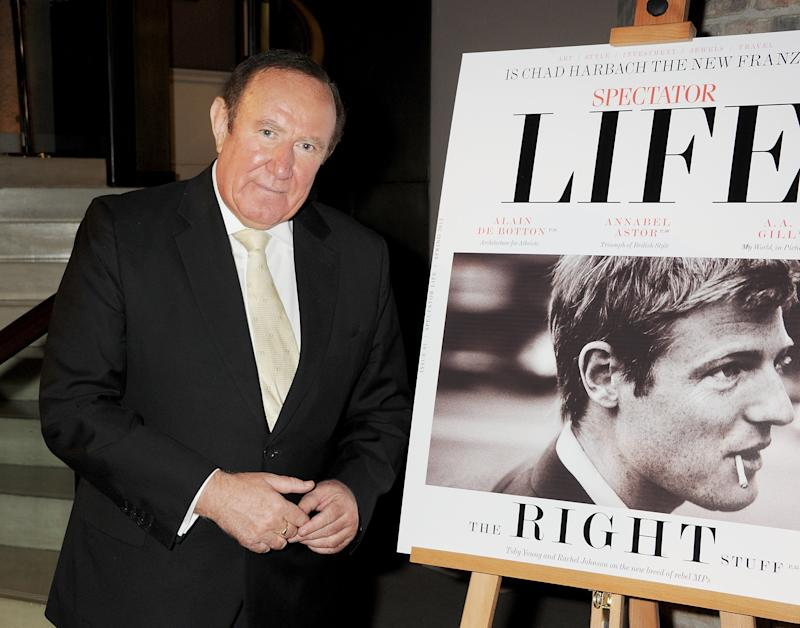LONDON, ENGLAND - MARCH 28: (EMBARGOED FOR PUBLICATION IN UK TABLOID NEWSPAPERS UNTIL 48 HOURS AFTER CREATE DATE AND TIME. MANDATORY CREDIT PHOTO BY DAVE M. BENETT/GETTY IMAGES REQUIRED) Andrew Neil attends the launch of Spectator Life, a new quarterly lifestyle magazine from The Spectator, at Asprey London on March 28, 2012 in London, England. (Photo by Dave M. Benett/Getty Images)