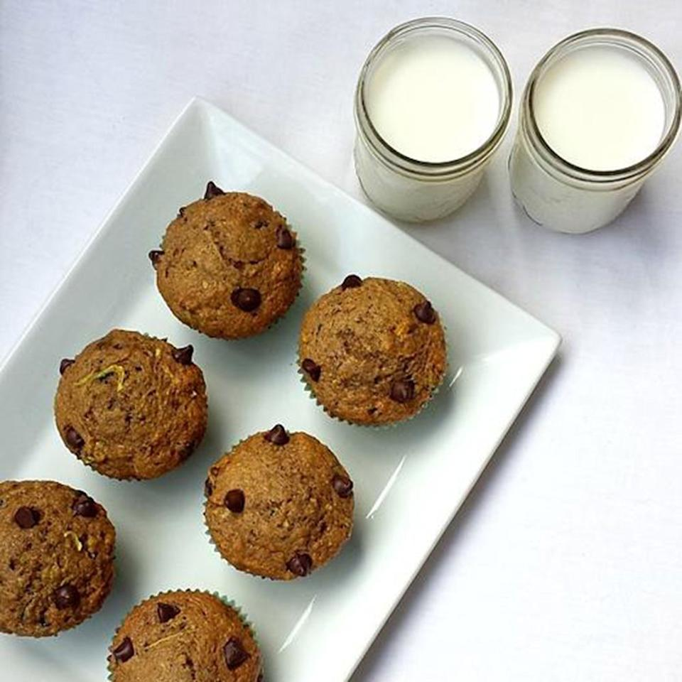 """<p>Zucchini keeps baked goods from drying out <em>and </em>is a great way to sneak extra veggies into your breakfast or smart snack. Plus, these chocolate chip muffins are packed with filling protein and fiber. (<a href=""""https://www.shape.com/healthy-eating/diet-tips/benefits-fiber-make-it-most-important-nutrient-your-diet"""" target=""""_blank"""">Here's why fiber might just be the most important component in your diet</a>.)</p> <p><strong>Get the recipe: </strong><a href=""""http://www.nutritionbynazima.com/single-post/2016/09/15/Whole-Grain-Chocolate-Chip-Zucchini-Muffins"""" target=""""_blank"""">Whole-Grain Chocolate Chip Zucchini Muffins</a></p>"""