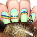 """<p>It's all about getting to that pot of gold. From thumb to pinky, you'll show the road to the end of the rainbow with this one. The pastel base and red to purple gradient is a colorful and unique design.</p><p><a class=""""link rapid-noclick-resp"""" href=""""https://go.redirectingat.com?id=74968X1596630&url=https%3A%2F%2Fwww.ulta.com%2Fexpressie-quick-dry-nail-polish%3FproductId%3Dpimprod2012771&sref=https%3A%2F%2Fwww.goodhousekeeping.com%2Fbeauty%2Fnails%2Fg26310821%2Fst-patricks-day-nail-designs%2F"""" rel=""""nofollow noopener"""" target=""""_blank"""" data-ylk=""""slk:SHOP MINT GREEN POLISH"""">SHOP MINT GREEN POLISH</a></p><p><a href=""""https://www.instagram.com/p/BgSbfWeBbYg/&hidecaption=true"""" rel=""""nofollow noopener"""" target=""""_blank"""" data-ylk=""""slk:See the original post on Instagram"""" class=""""link rapid-noclick-resp"""">See the original post on Instagram</a></p>"""