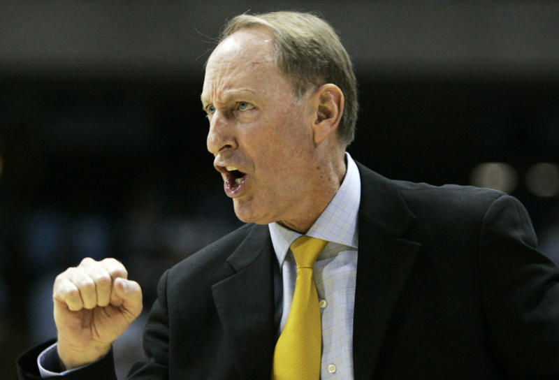 Valparaiso coach Homer Drew yells at his team during the first half of an NCAA college basketball game against North Carolina in Chapel Hill, N.C., Sunday, Nov. 15, 2009. North Carolina won 88-77. (AP Photo/Gerry Broome)