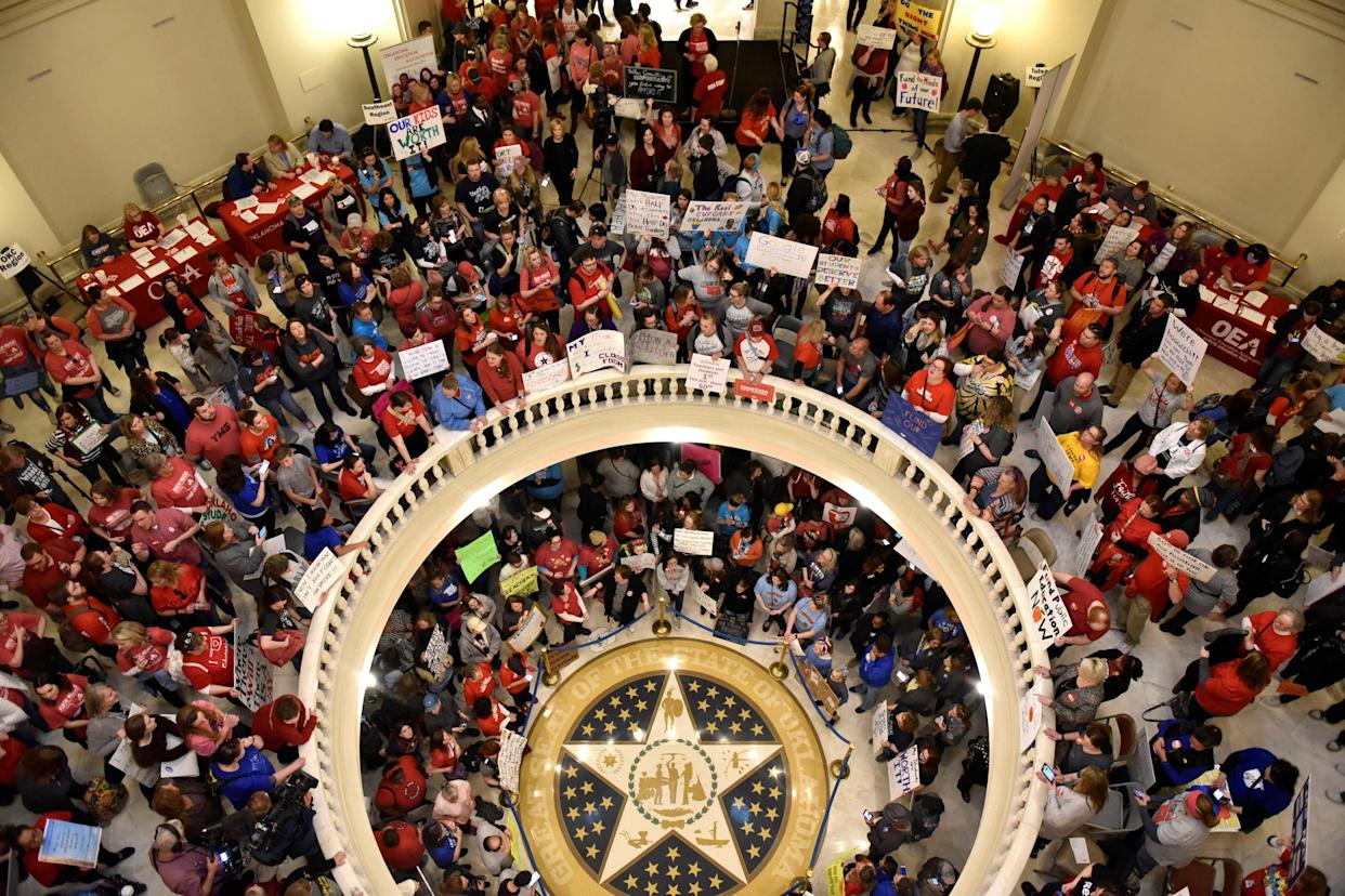 Teachers pack the Oklahoma state Capitol rotunda to demand higher pay and better funding. (Photo: Nick Oxford/Reuters)
