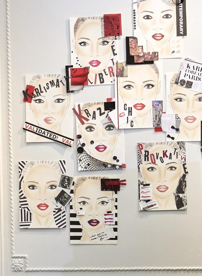Face charts inside the Karl Lagerfeld fashion brand atelier