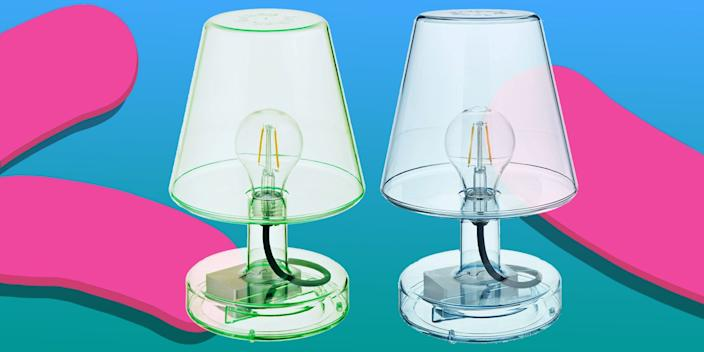 """<div class=""""caption""""> This translucent retro lamp has all the qualities that get us excited about table lamps: portable, dimmable, energy-saving, and good-looking. Oh, and BTW, it's cordless. :) <a href=""""https://amzn.to/2FyZ43I"""" rel=""""nofollow noopener"""" target=""""_blank"""" data-ylk=""""slk:SHOP NOW"""" class=""""link rapid-noclick-resp"""">SHOP NOW</a>: Translucent lamp by Fatboy, $99, amazon.com </div> <cite class=""""credit"""">Photo courtesy of Amazon</cite>"""