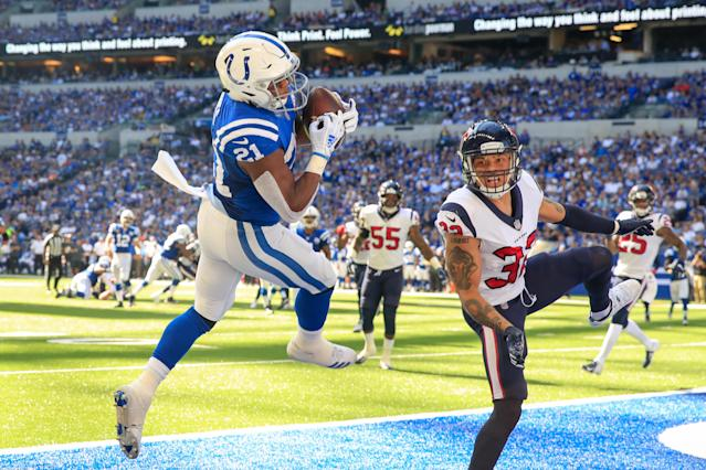 <p>Nyheim Hines #21 of the Indianapolis Colts catches the ball in the 3rd quarter against the Houston Texans at Lucas Oil Stadium on September 30, 2018 in Indianapolis, Indiana. (Photo by Andy Lyons/Getty Images) </p>