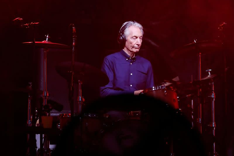 """Charlie Watts of the Rolling Stones performs during a concert of their """"No Filter"""" European tour at the new U Arena stadium in Nanterre near Paris"""