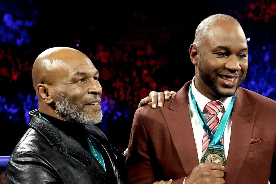 <p>Mike Tyson and Lennox Lewis pictured in 2020</p> (Getty Images)