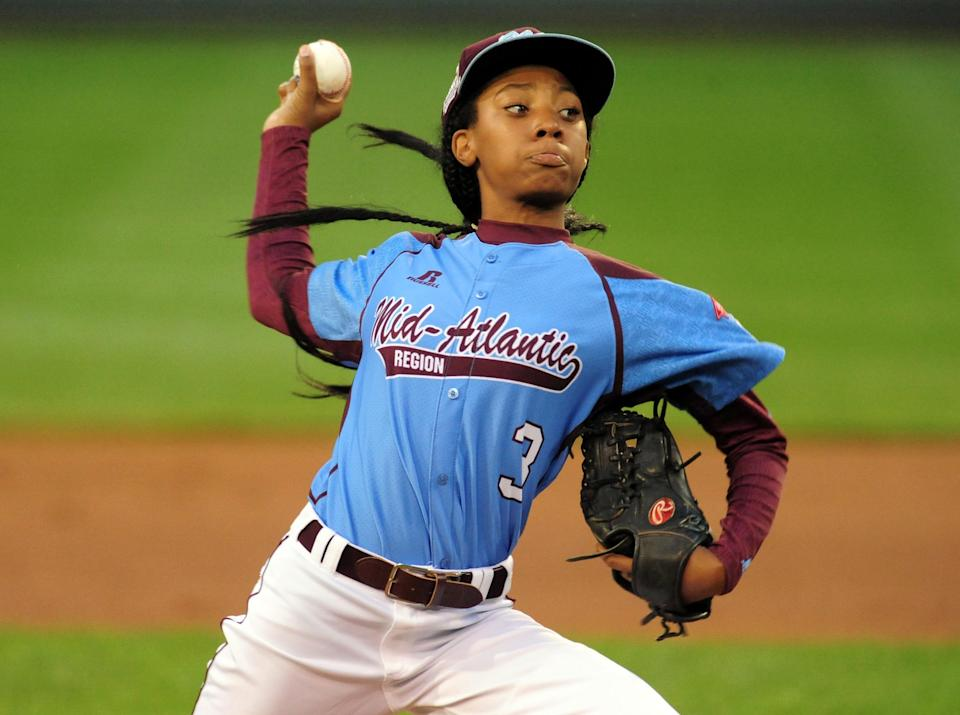 In a file photo from 2014, Mid-Atlantic Region pitcher Mo'ne Davis (3) throws a pitch in the first inning against the West Region at Lamade Stadium.