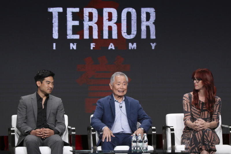 "Derek Mio, from left, George Takei and costume designer JR Hawbaker participate in AMC's ""The Terror: Infamy"" panel at the Television Critics Association Summer Press Tour on Thursday, July 25, 2019, in Beverly Hills, Calif. (Photo by Willy Sanjuan/Invision/AP)"