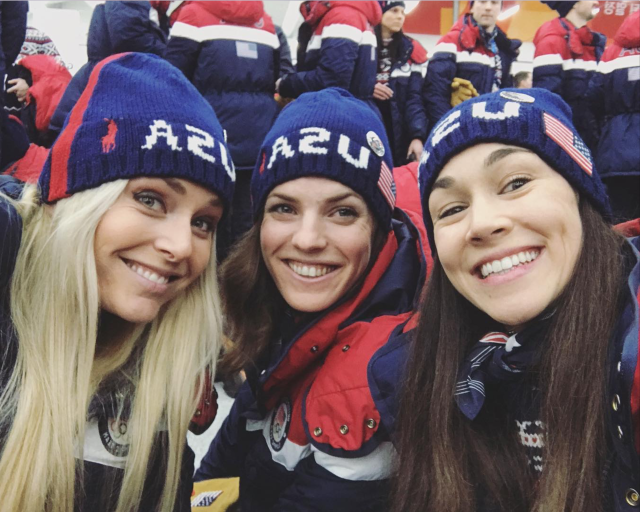 <p>schendrickson: Congrats to @lindseyvonn for her bronze today in downhill- Forever the GOAT #respect #teamusa (Photo via Instagram/schendrickson) </p>