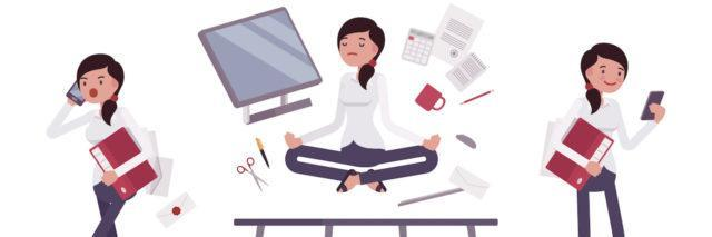 An illustration of a woman at her desk