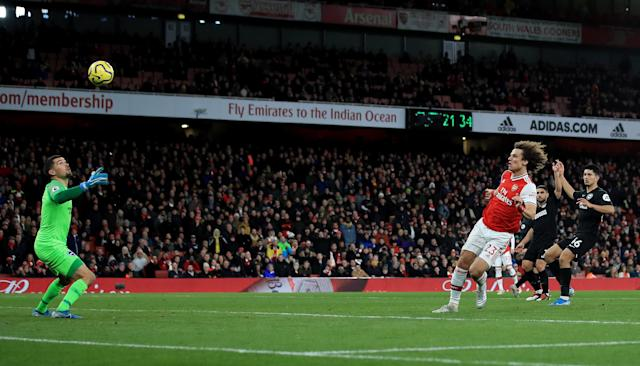 David Luiz thought he had put Arsenal in front - but it was ruled offside. (Photo by Marc Atkins/Getty Images)