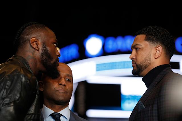Deontay Wilder faces off with Dominic Breazeale during a news conference at Barclays Center on March 19, 2019 in New York City. (Getty Images)