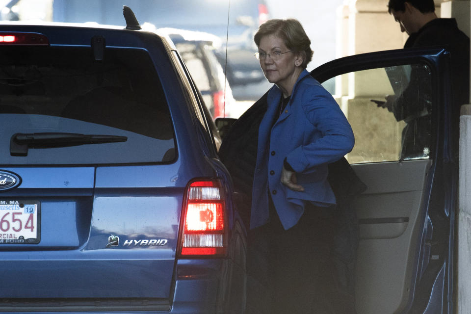 Sen. Elizabeth Warren, D-Mass. arrives at the Capitol in Washington, Wednesday, Jan. 22, 2020. The U.S. Senate was poised to hear opening arguments Wednesday in President Donald Trump's impeachment trial, with Democratic House managers set to make their case that Trump abused power and should be removed from office. (AP Photo/Cliff Owen)