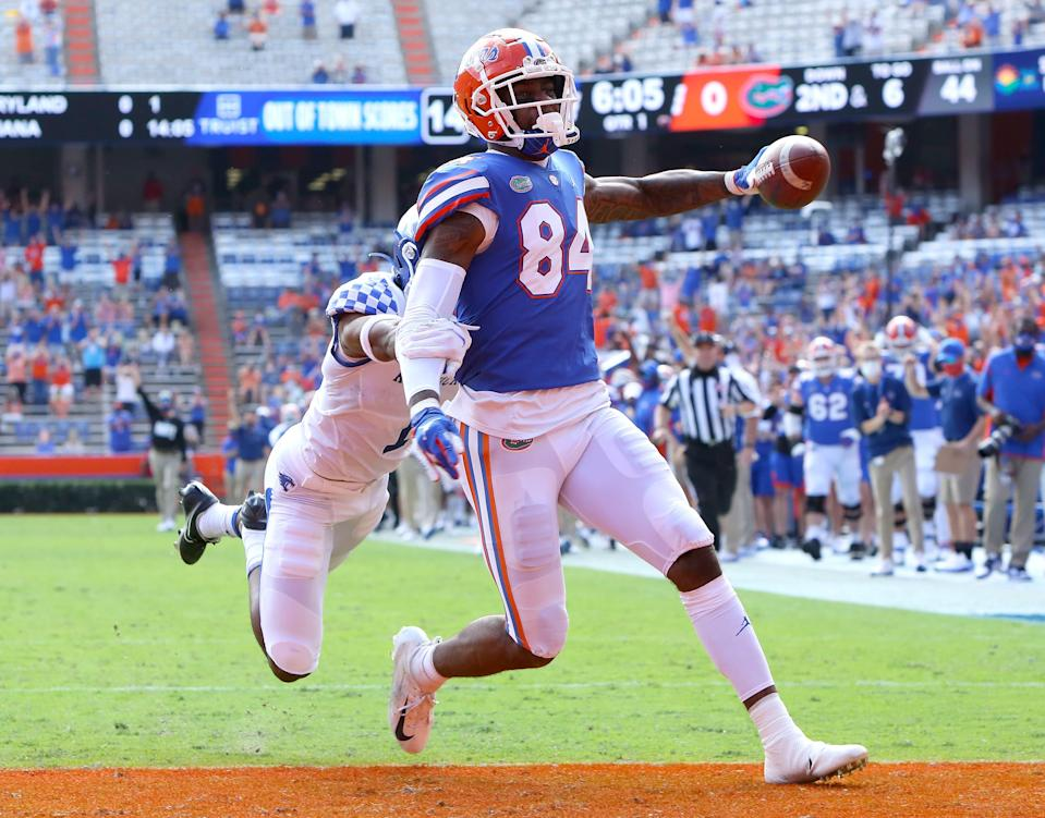 TE Kyle Pitts (84) caught 12 TDs for the University of Florida in 2020.