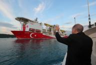 Turkey's drilling vessel Fatih sets sails for the Black Sea in Istanbul