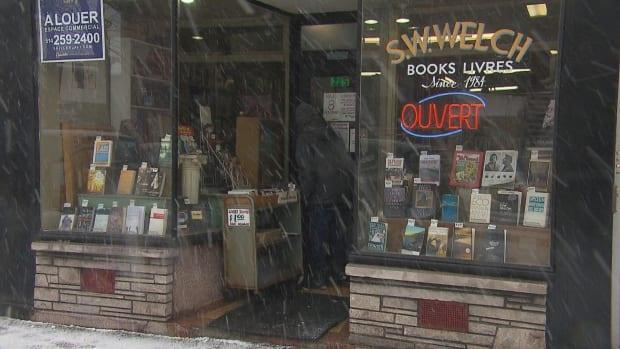 The storefront of S. W. Welch bookstore now has a 'for rent' sign in the window.
