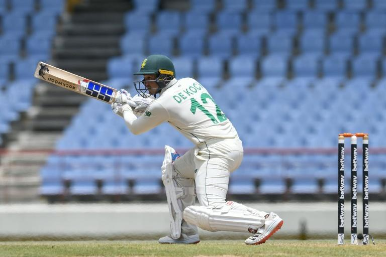 Quinton de Kock was dismissed for 96 as South Africa were all out for 298 aggainst the West Indies in Saint Lucia on Saturday