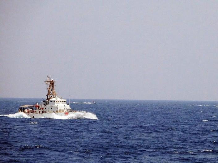 <p>Two Iranian Islamic Revolutionary Guard Corps Navy vessels armed with machine guns conducted unsafe and unprofessional maneuvers while operating in close proximity to USCGC Maui </p> (U.S. Naval Forces Central Comman)