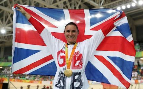 Great Britain's Sarah Storey on the podium after winning gold in the Women's C5 3000m Individual Pursuit Final at the 2016 Olympics - Credit: PA