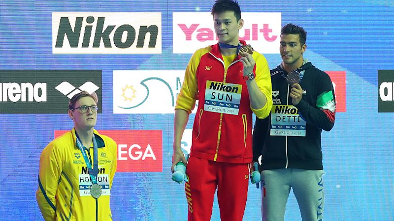 Mack Horton, pictured here refusing to take the podium with Sun Yang at the 2019 FINA World Championships.