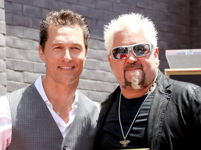 Matthew McConaughey and Guy Fieri seen onstage at Guy Fieri's Star Ceremony On The Hollywood Walk Of Fame on May 22, 2019 in Hollywood, California from Getty Images