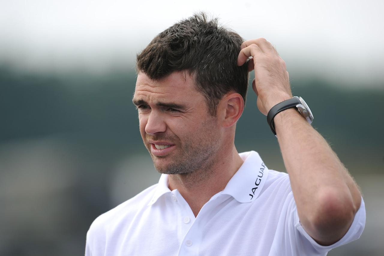 England's James Anderson during the Jaguar Challenge at the Jaguar Proving Ground, Warwickshire.