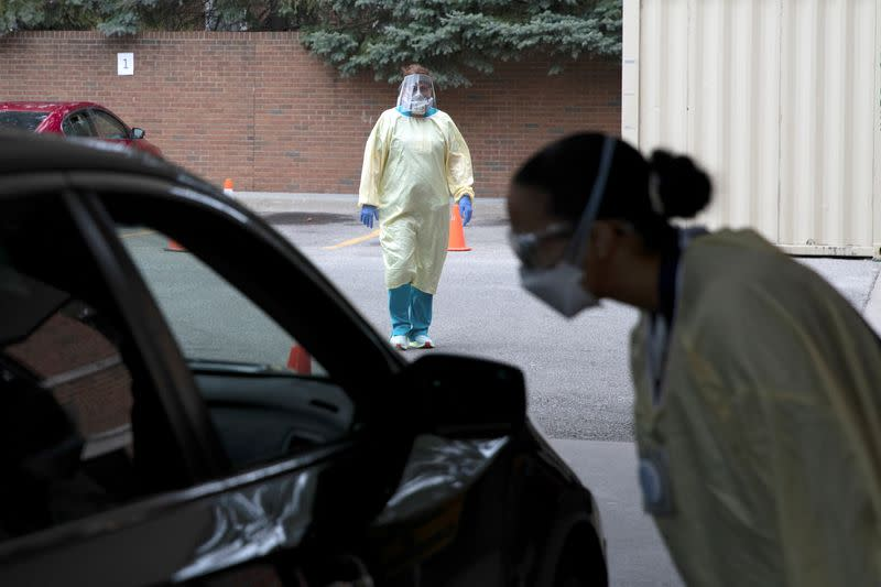 FILE PHOTO: Triage units are set up outside Michigan hospitals