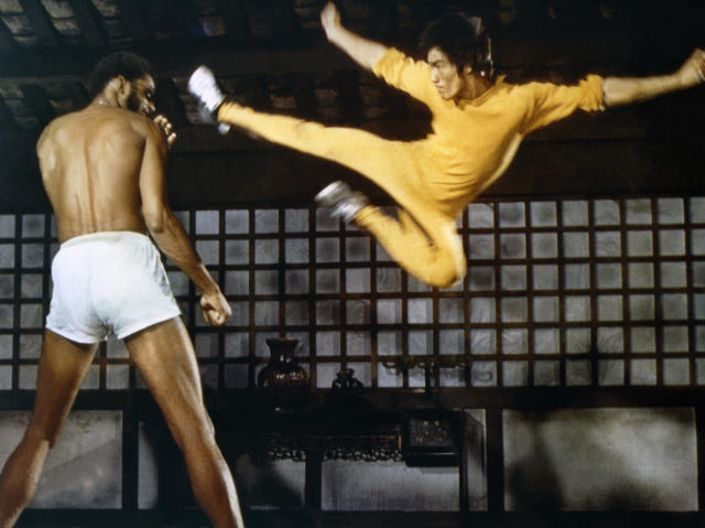 Kareem Abdul-Jabbar and Bruce Lee on the set of Game of Death. (Concord Productions Inc./Golden Harvest Company/Sunset Boulevard/Corbis via Getty Images)
