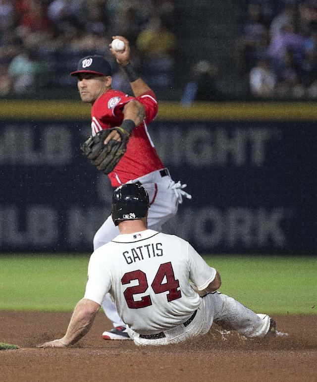 Washington Nationals shortstop Ian Desmond forces out Atlanta Braves' Evan Gattis (24) as he turns a double play on a Chris Johnson ground ball in the third inning of a baseball game Saturday, Aug. 9, 2014, in Atlanta. (AP Photo/John Bazemore)